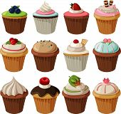 Set of delicious cupcakes.