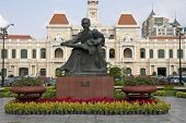 Statue of Ho Chi Minh and Peoples Committee Building Saigon
