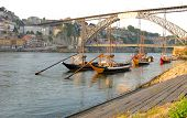 Panorama Old Porto River Duoro And Famous Bridge Ponte Dom Luis Portugal
