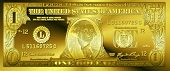Golden One Dollar Bill