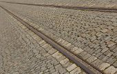 Cobbled Street With Tram Rails