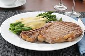 Grilled Rib Steak And Asparagus