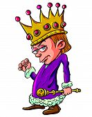 Cartoon of evil looking child king holding a scepter.Isolated