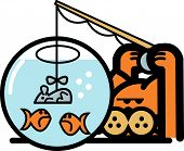 Cat Clip Art Fishing for Fish in Bowl