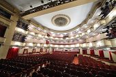 MOSCOW - APRIL 23: View from stage t o auditorium of Large stage in Vakhtangov Theatre on April 23,
