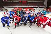 MOSCOW - APRIL 28: Teams gathered for group photography on closing ceremony of championship season of 2011-2012 Ice Hockey for Sports School, junior teams, April 28, 2012, Sokolniki, Moscow, Russia.