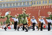 MOSCOW - MAY 27: Children collective performance on Red Square during 8-th sports forum GTO, May 27,