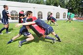MOSCOW - JUNE 30: Scottish team training at second stage of European championship on rugby-7 in spor