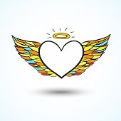stock photo of blue angels  - Hand drawn angel heart  vector background with space for your text - JPG