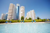 ALANYA - JUL 10: Housing complex My Marine Residence and pools situated next to it, July 10, 2012, A
