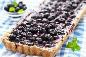 stock photo of crust  - Currant Blueberry Pie with Oatmeal Crust - JPG