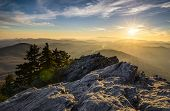 picture of grandfather  - Grandfather Mountain Appalachian Sunset Blue Ridge Parkway Western NC in the mountains of North Carolina - JPG