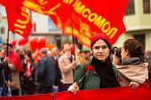 MOSCOW - MAY 1: Communist party supporters take part in a rally marking the May Day, May 1, 2013 in Moscow, Russia.