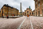 Royal Palace And Cathedral Of Saint Nicholas (storkyrkan) In Stockholm, Sweden