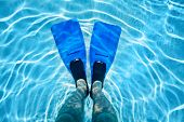 Male legs in flippers underwater