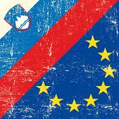 Slovenian and european grunge Flag. flag of european union members