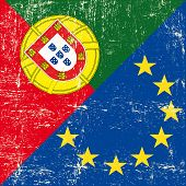 Portuguese and european grunge Flag. flag of european union members