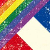 Mixed grunge gay flag with french flag.