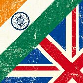 English and india grunge Flag. this flag represents the relationship between UK union and India
