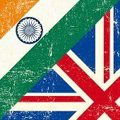 Постер, плакат: Английский и Индии гранж флаг Этот флаг представляет связь между Союзом Великобритании и Индии