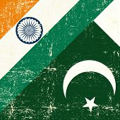 stock photo of pakistani flag  - Indian and Pakistani grunge Flag - JPG