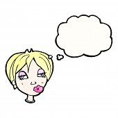 cartoon blond woman with thought bubble