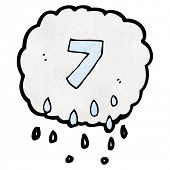 cartoon raincloud with number seven