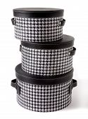 Set Of Houndstooth Check And Black Leather Bandboxes