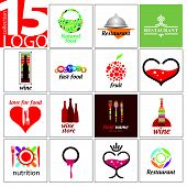 Vector collection of creative design signs of restaurants and cafes