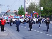 SARATOV, RUSSIA - MAY 1: Holiday demonstration o on the  Moscow street May 1, 2013.