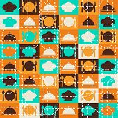 Seamless retro kitchen pattern.