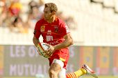 BARCELONA - SEPT, 15: Gavin Hume of USAP Perpignan in action during the French rugby union league ma
