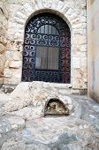 stock photo of gethsemane  - Window and niche with praying the garden of Gethsemane Jerusalem Israel - JPG