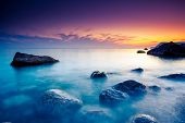 stock photo of crimea  - Majestic summer sunset over the sea - JPG