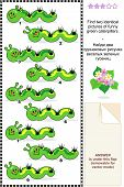 stock photo of green caterpillar  - Spring or summer visual puzzle - JPG