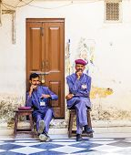 Security Check Personal Have A Rest  At The Palace Of Udaipur