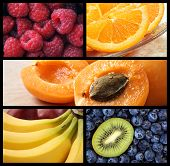 Colorful fresh fruit collage includes raspberries, apricots, bananas, blueberries, kiwi fruit, and orange slices.