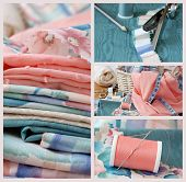 Sewing collage includes macro images of pastel colored fabric, sewing basket with notions, pinking s