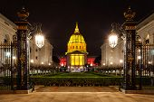 stock photo of forty-niner  - San Francisco City Hall in red and gold light in honor of the Forty Niners making the NFL playoffs - JPG