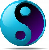 stock photo of budha  - realistic 3d ying yang sign vector illustration - JPG