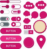 Vector illustration of fuchsia plain web elements. Flat UI.
