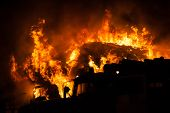 stock photo of flames  - Arson or nature disaster  - JPG