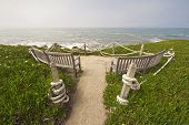 Ocean-view Benches At Point Montara State Park, California