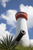 Lighthouse and old cannon on top of Gustavia Harbor, St Barts, French West Indies