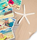 Summer beach postcards on sand with starfish and page curl