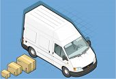 Isometric White Van In Front View