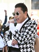 NEW YORK-MAY 3: Korean rapper Psy performs on the Today Show at Rockefeller Plaza on May 3, 2013 in New York City.