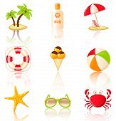 Collection Of Colored Beach Icons.