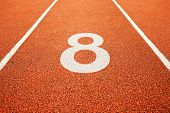 picture of 8-track  - Number teight on athletics all weather running track - JPG