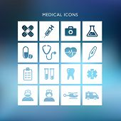 Collection of medical Icons on a blurred background.